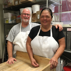 Chef Catherine and Mike in Pastry Shop