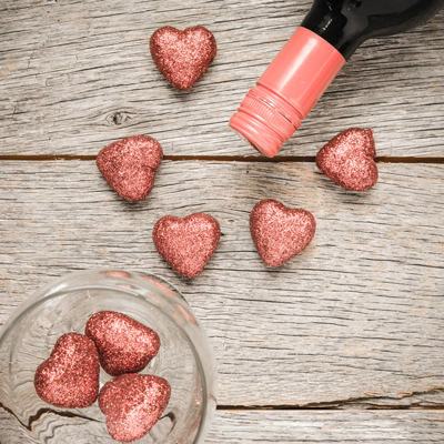 Valentines Day Heart Wine Bottle