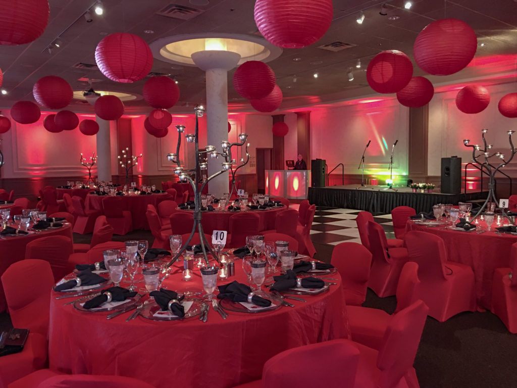 Ballroom event with red lanterns