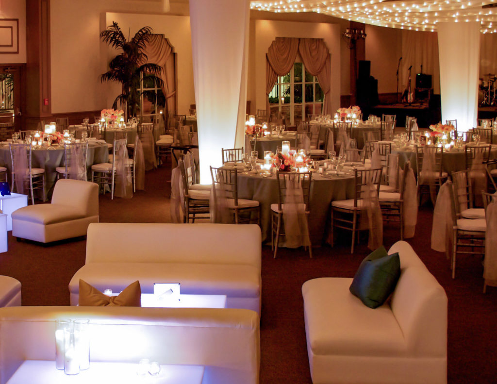 White event in Ballroom with Christmas lights